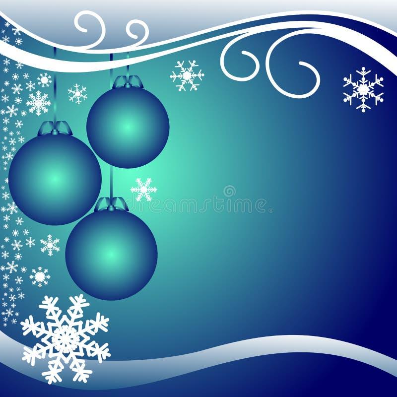 Donkerblauwe Kerstmisachtergrond met Ballen en witte Sno vector illustratie