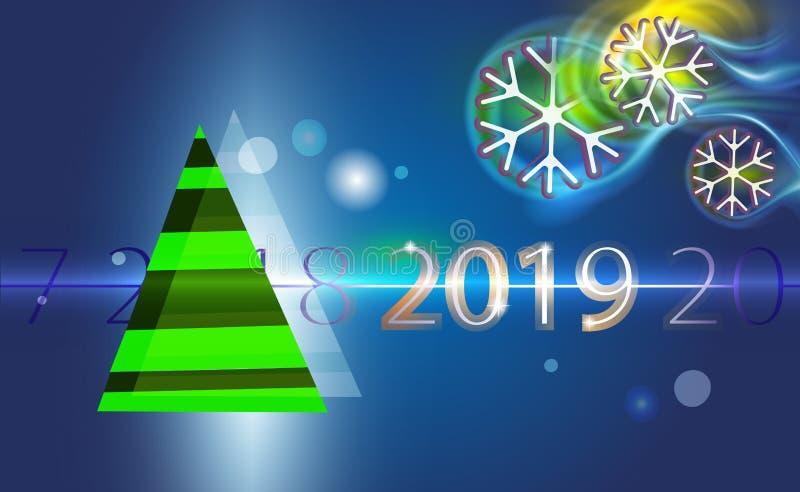 Donkerblauwe Kerstmisachtergrond met groene boom en gloeiende sneeuwvlokken bokeh, blizzard Kerstmis van de ontwerpillustratie go royalty-vrije illustratie