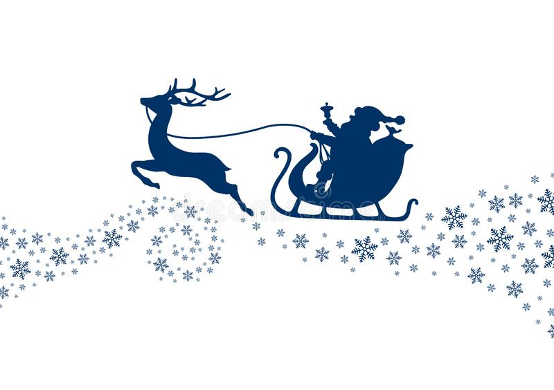 Donkerblauwe Kerstmisar met Sneeuwvlokken en Werveling vector illustratie