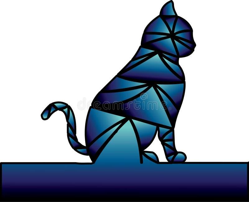 Donkerblauwe kleuren De kat wacht royalty-vrije illustratie