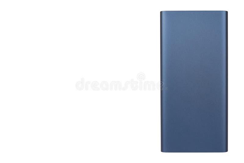 Donkerblauwe machtsbank voor het laden van mobiele apparaten, externe batterij royalty-vrije stock afbeeldingen