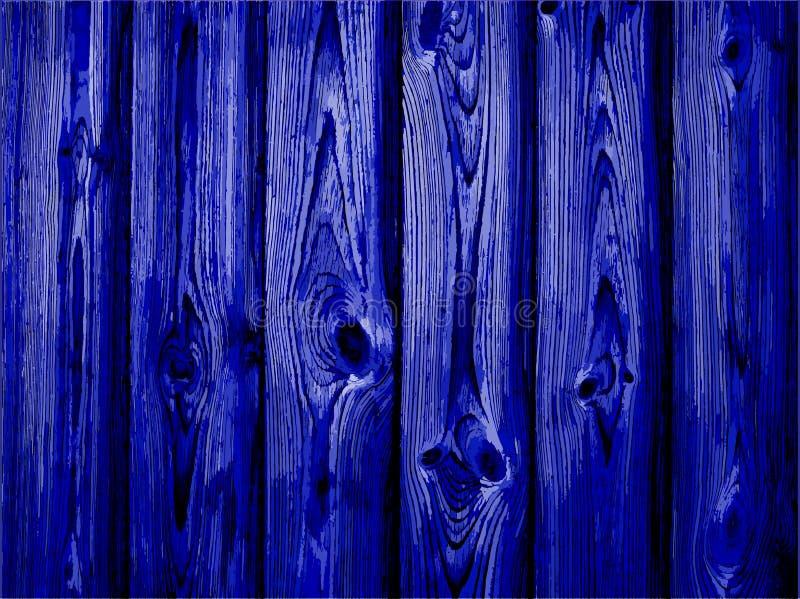 Donkerblauwe oude houten omheining Vector Textuur voor achtergrond vector illustratie