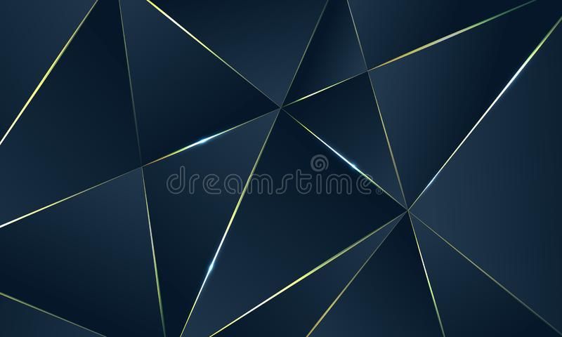 Donkerblauwe Premieachtergrond met luxe veelhoekig patroon en gouden driehoekslijnen stock illustratie