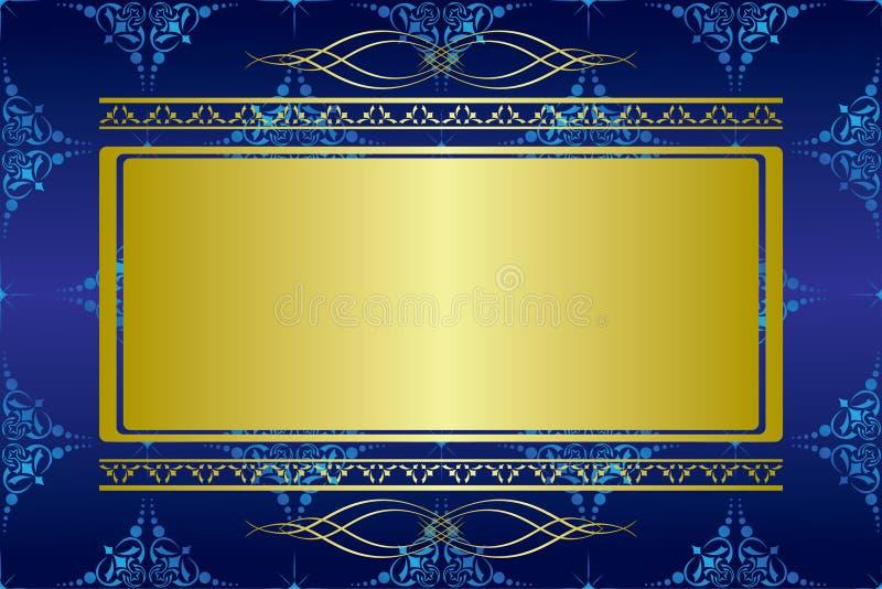 Donkerblauwe vectorkaart met gouden decoratie vector illustratie