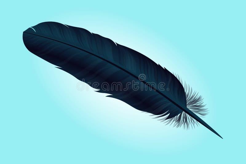 Donkerblauwe vogelveer op een achtergrond Vector vector illustratie