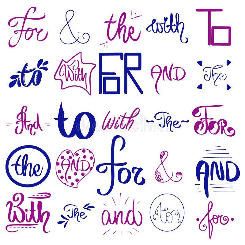 Donkerblauwe wachtwoordenvector Kalligrafische ontwerpelementen Ampersandvector Handdrawn ampersand Hand getrokken vangstwoord sc royalty-vrije illustratie
