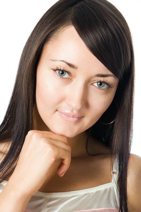 Donkerbruin het meisjesportret van de schoonheid stock foto
