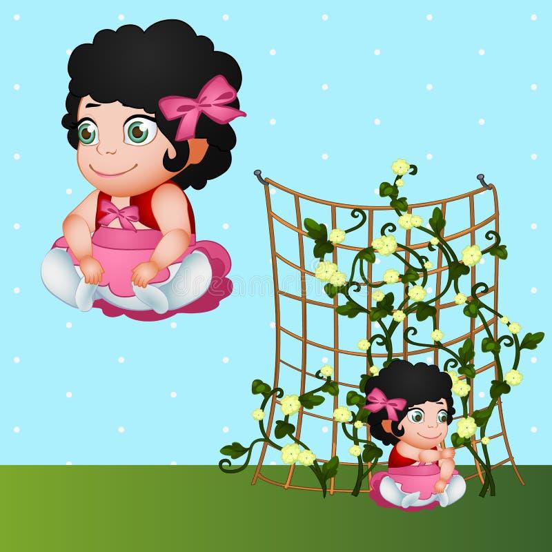 Donkerbruin meisje en bloemen, karakter in aard vector illustratie