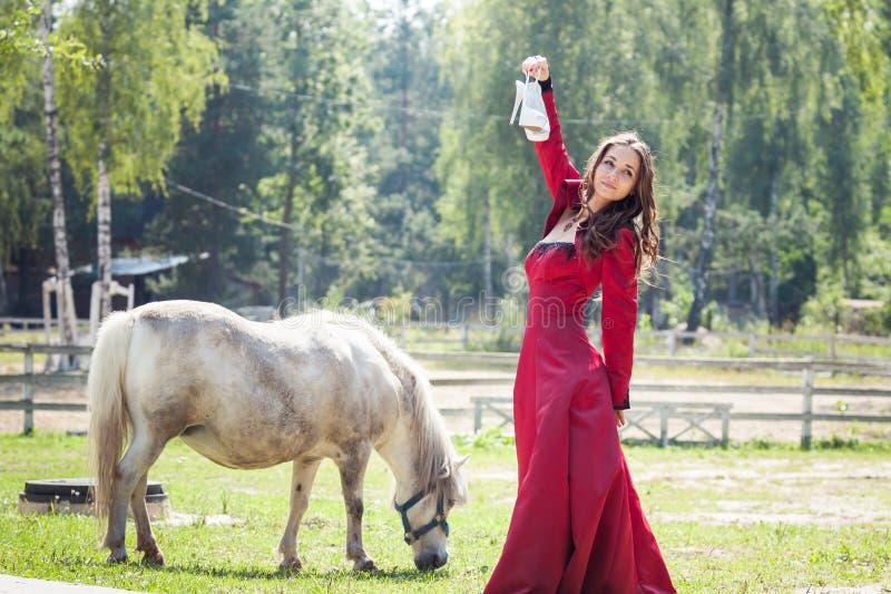Donkerbruin meisje en paard royalty-vrije stock afbeelding