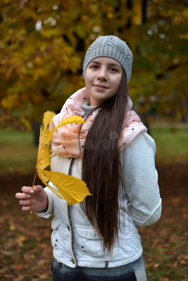 Donkerbruin meisje in het de herfstpark royalty-vrije stock afbeelding