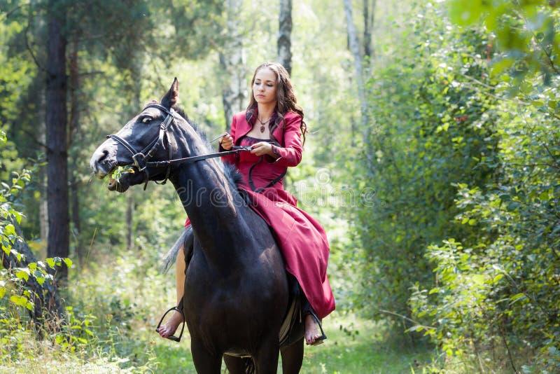 Donkerbruin meisje op paard royalty-vrije stock afbeelding