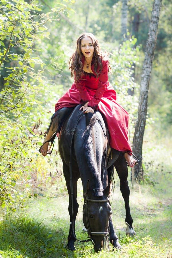 Donkerbruin meisje op paard stock foto's