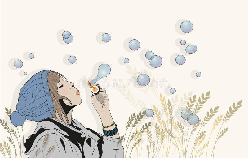 Donkerbruin meisjes blazende zeepbels in openlucht royalty-vrije stock afbeeldingen
