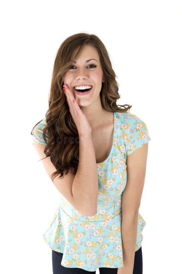 Donkerbruin vrouwelijk model met een verraste of verbaasde uitdrukking royalty-vrije stock afbeeldingen