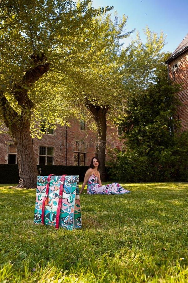 Donkerbruine het grasboom van de vrouwenhandtas, Groot Begijnhof, Leuven, België stock foto