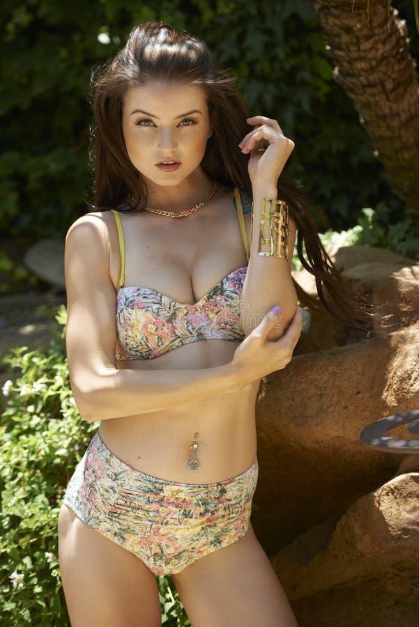 Donkerbruine Schoonheid in Bikini royalty-vrije stock foto's