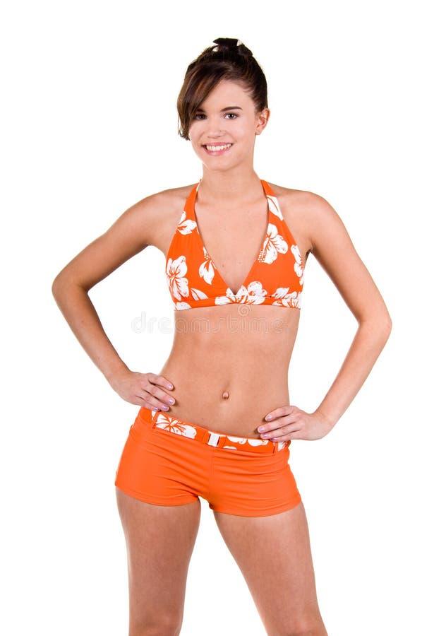 Donkerbruine Vrouw in een Bikini stock fotografie