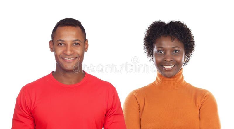 Donkerbruine vrouw en knappe Afrikaanse man royalty-vrije stock afbeelding
