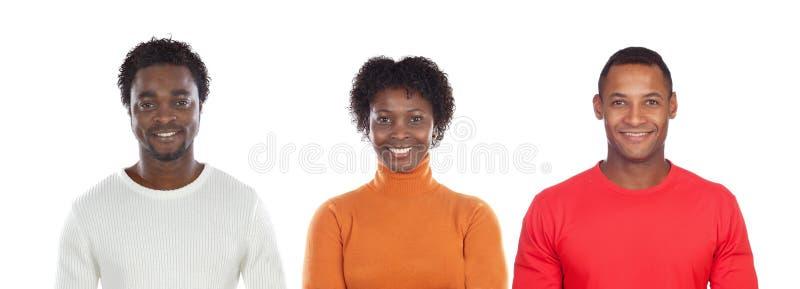 Donkerbruine vrouw en knappe Afrikaanse man stock afbeelding