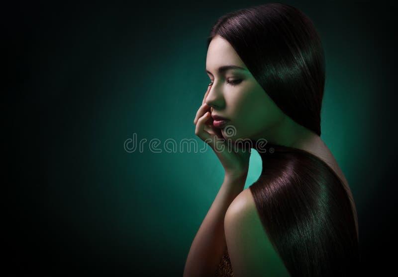 Donkerbruine vrouw. Gezond Lang Haar stock foto