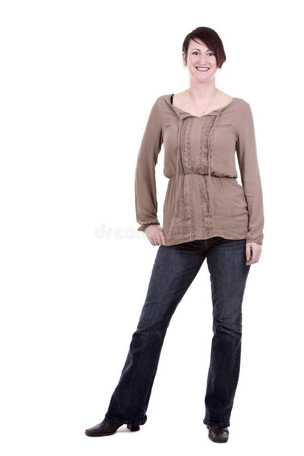 Donkerbruine vrouw op witte achtergrond stock fotografie