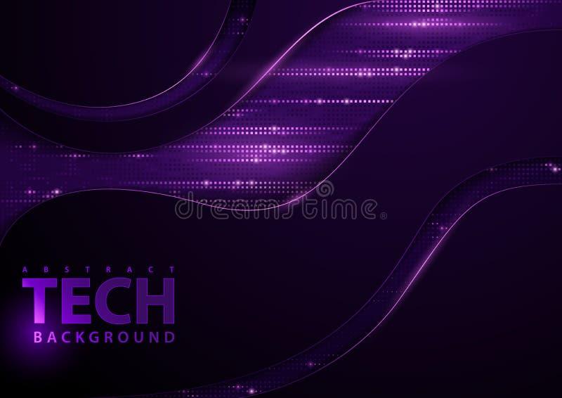 Donkere Abstracte Technologie-Achtergrond met Purpere Elementen stock illustratie