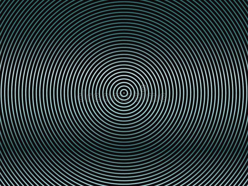 Donkere achtergrond met concentrische cirkelsgradiënt, neon groenachtig blauwe lijnen Abstracte geometrische achtergrond voor dek royalty-vrije illustratie