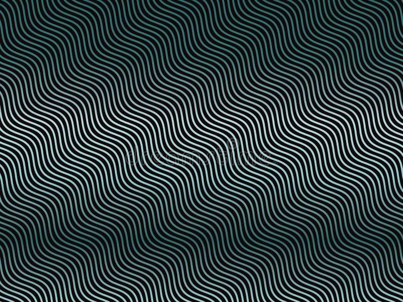 Donkere achtergrond met golvende geneigde lijnengradiënt, neon groenachtig blauwe lijnen Abstracte geometrisch vector illustratie