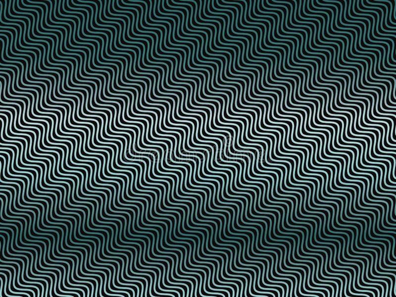 Donkere achtergrond met golvende geneigde lijnengradiënt, neon groenachtig blauwe lijnen Abstracte geometrisch stock illustratie