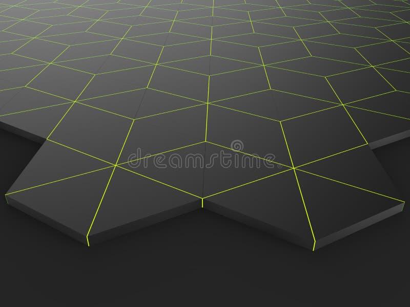 Donkere achtergrond - zeshoeken met heldergroene overzichten royalty-vrije illustratie