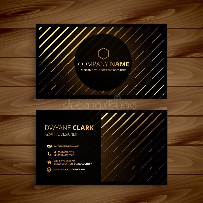 Donkere adreskaartje van de luxe het gouden lijn stock illustratie