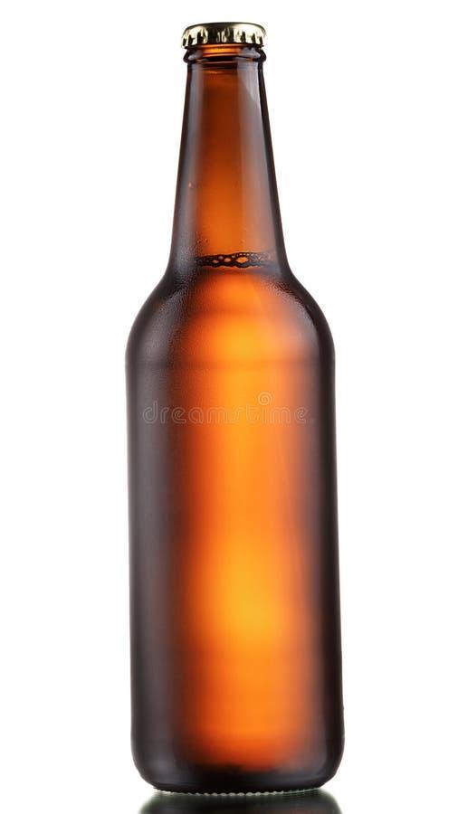 Donkere bierfles stock fotografie