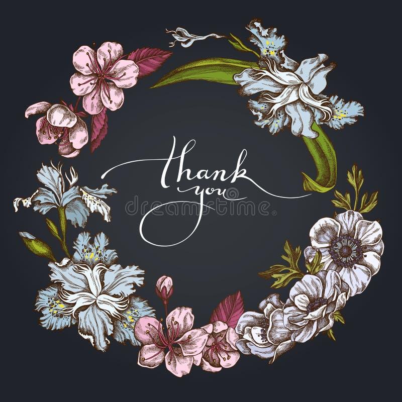 Donkere Bloemenkroon van anemoon, irisjaponica, sakura royalty-vrije illustratie