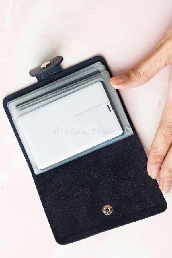 Donkere bruine en blauwe de kaarthouder en zak van de leervraag met lege witte die kaartspot omhoog op grijs wordt geïsoleerd royalty-vrije stock afbeelding