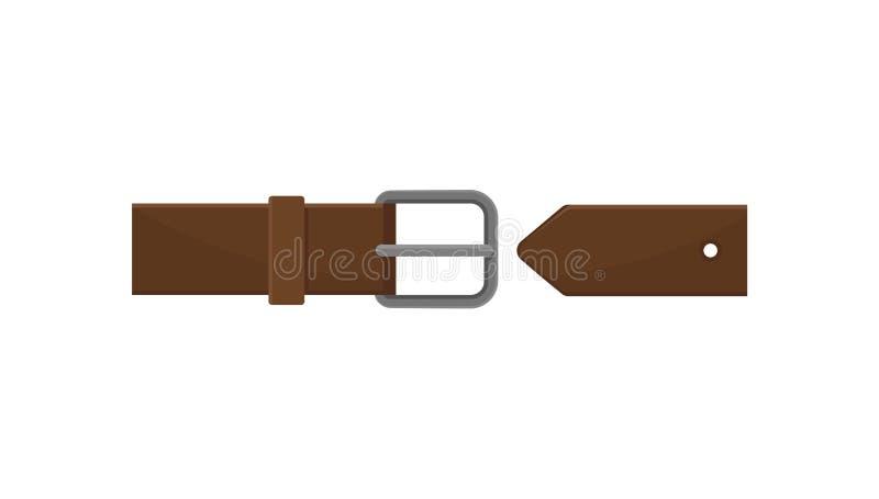 Donkere bruine mensenriem met grijze metaalgesp Klassieke leertoebehoren Element van kleding Vlak vectorpictogram stock illustratie