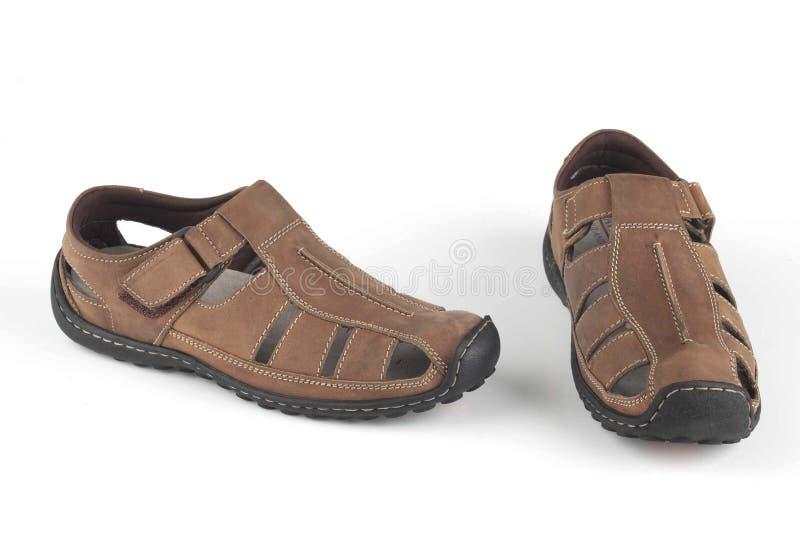 Donkere bruine sandals royalty-vrije stock foto's