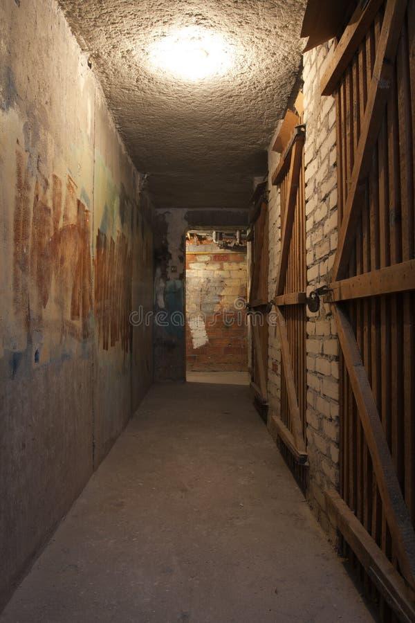 Donkere cementkelderverdieping stock fotografie