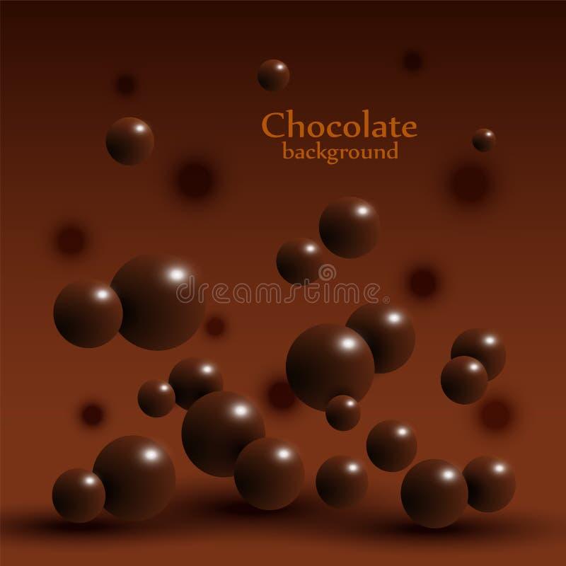 Donkere chocoladeballen op abstracte achtergrond vector illustratie