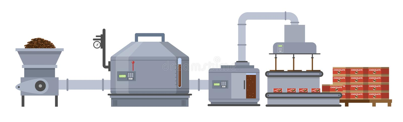 Donkere chocoladefabriek Productie op machineslijn royalty-vrije illustratie