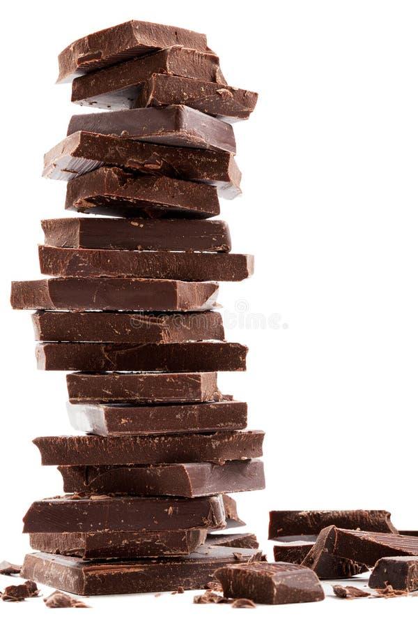Donkere chocoladerepenstapel royalty-vrije stock foto's