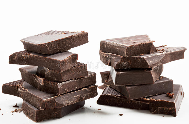 Donkere chocoladerepenstapel stock foto's