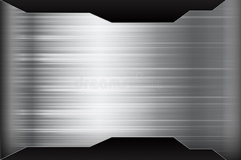Donkere chroom zwarte en grijze achtergrondtextuur vectorillustratio vector illustratie