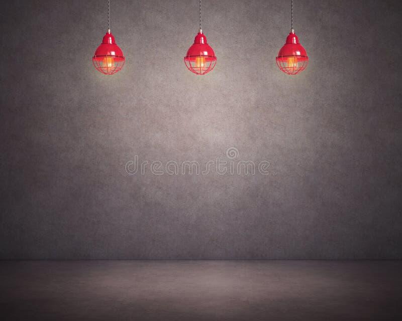 Donkere concrete muur en vloer met drie lampen royalty-vrije illustratie