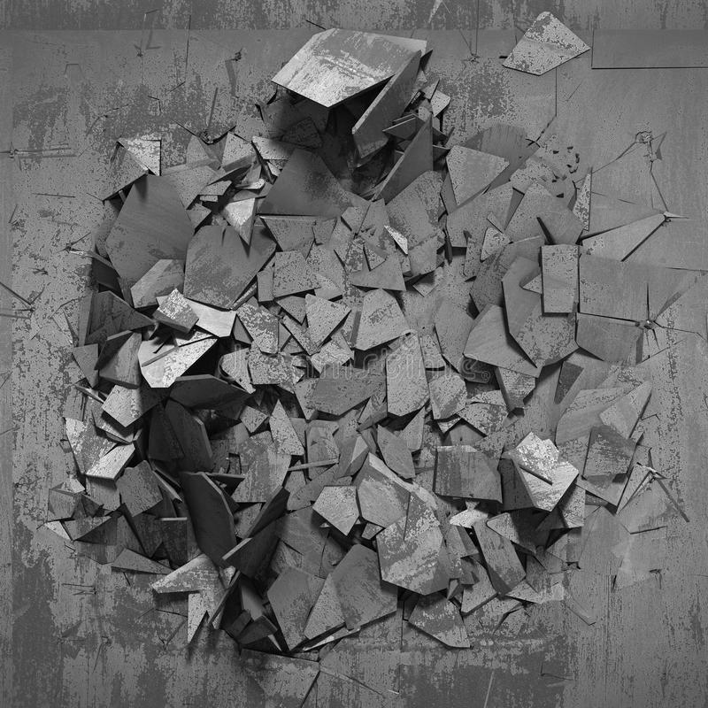 Donkere concrete vernietigingsoppervlakte met veel chaotisch gebroken stuk stock illustratie