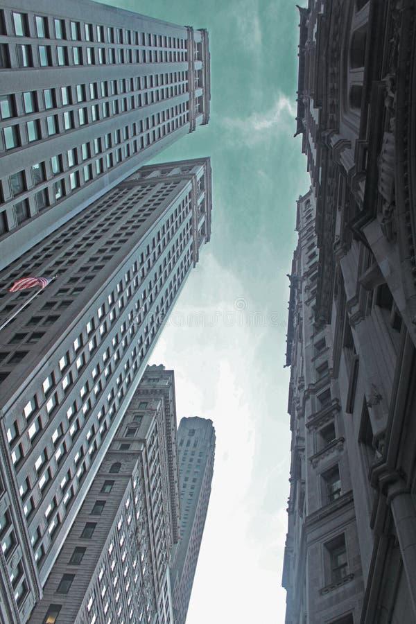Donkere dagen in Wall Street-gebouwen stock foto's