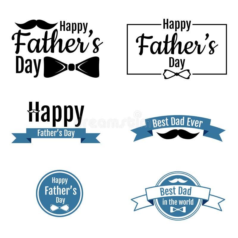 donkere en blauwe geplaatste Vaderdagetiketten vector illustratie
