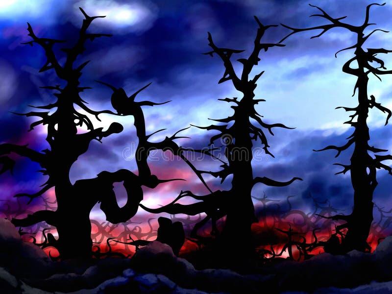 Donkere en enge bosbomenachtergrond stock illustratie