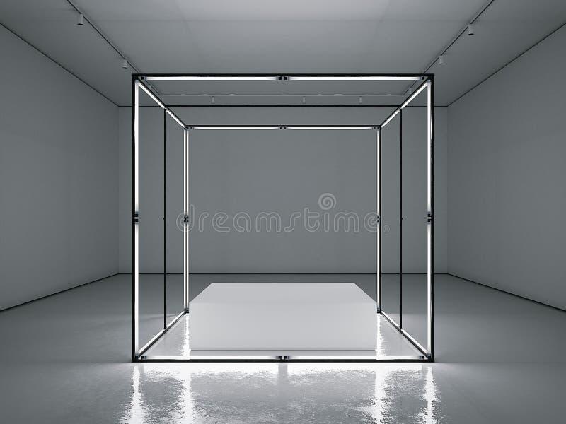 Donkere galerij met lege moderne showcase het 3d teruggeven vector illustratie