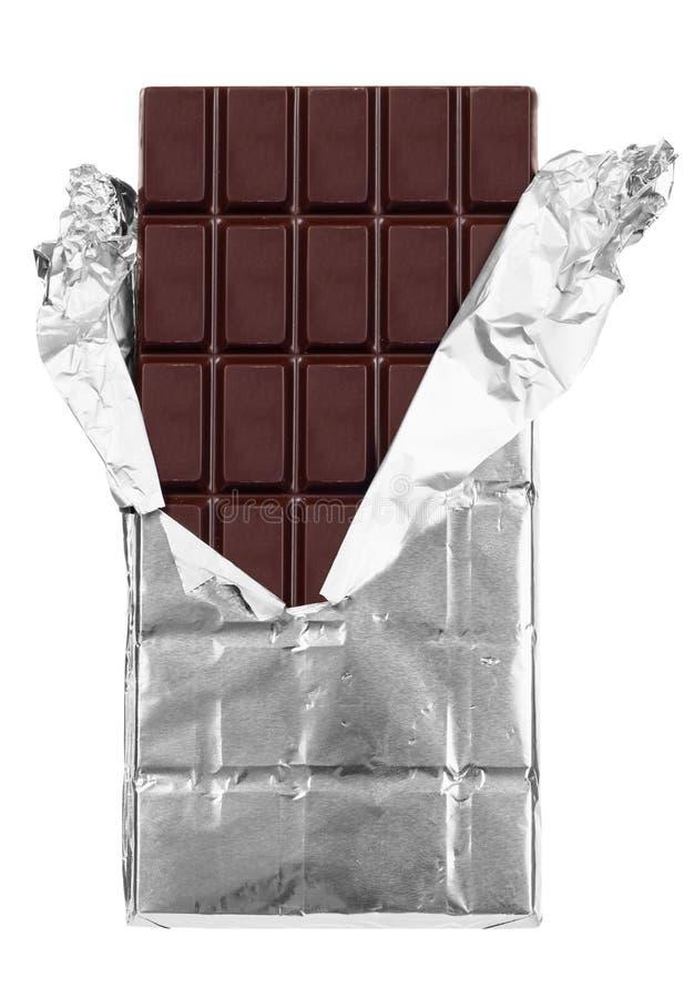 Donkere geïsoleerde chocoladereep royalty-vrije stock foto's