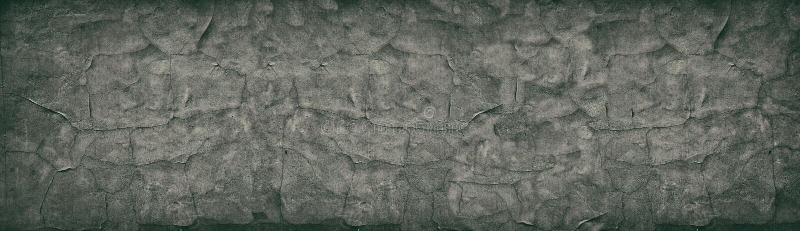 Donkere gebarsten concrete muur brede retro textuur Het oude panorama van de cementoppervlakte Panoramische uitstekende achtergro royalty-vrije stock fotografie